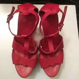 J. Crew Red Leather Wedges